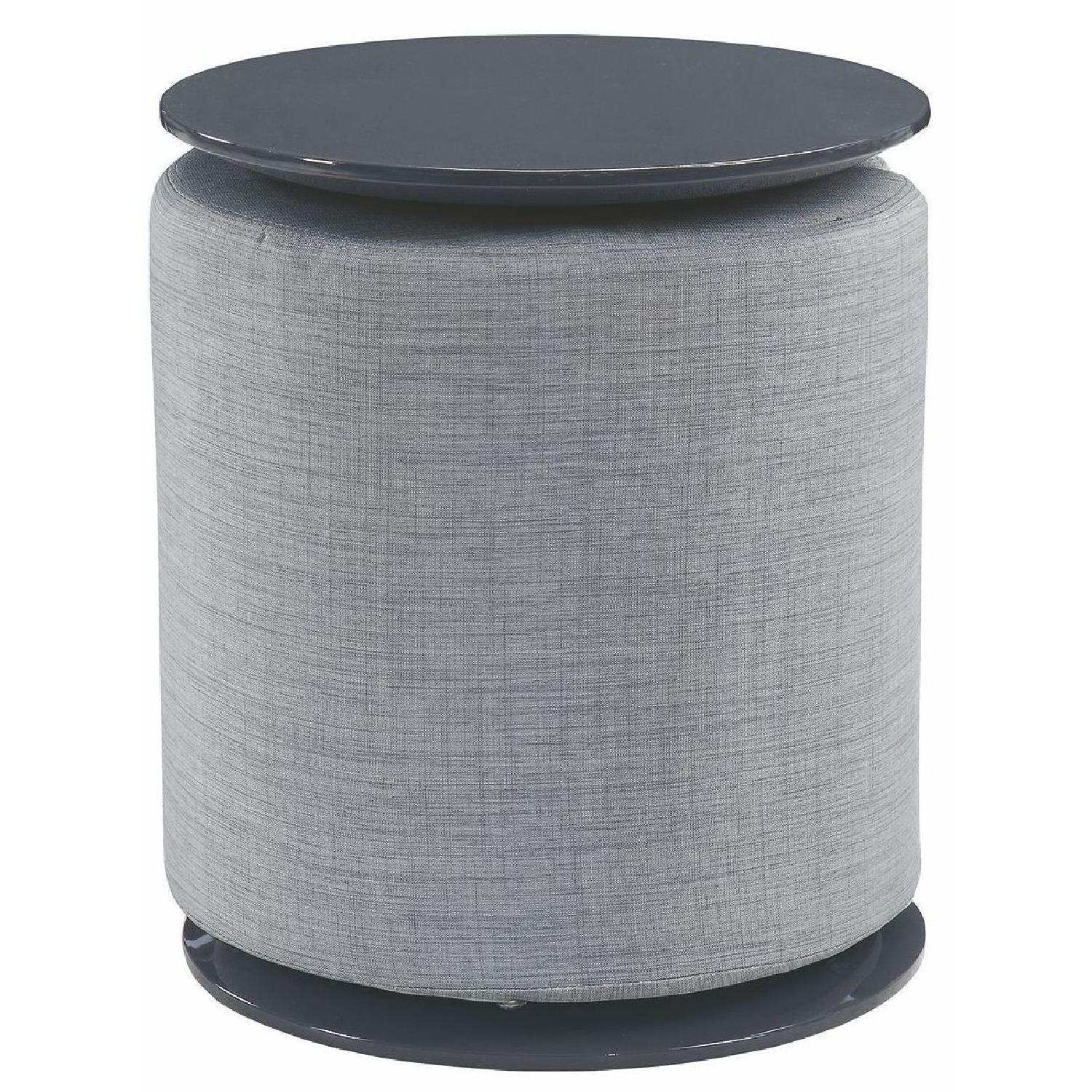 High Gloss Round Side Table w/ Detachable Grey Ottoman