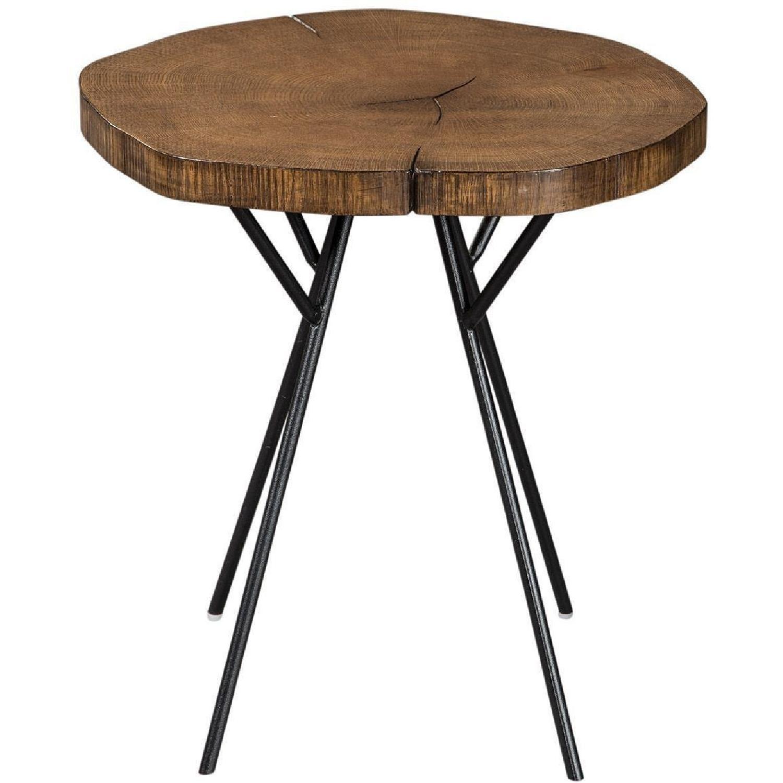 Side Table w/ Tree Trunk Slab Style Top in Natural Oak