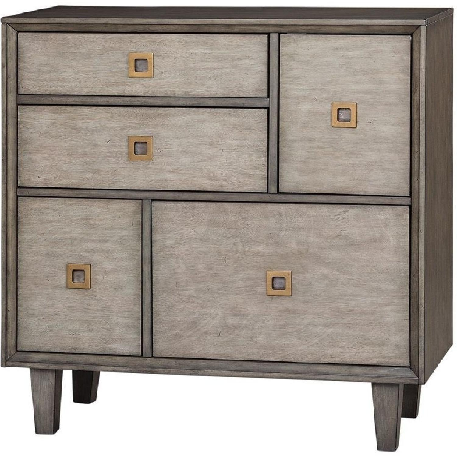 Wood Accent Cabinet in Weathered Grey w/ Brass Accent