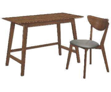 Mid Century Style Writing Desk & Chair in Walnut