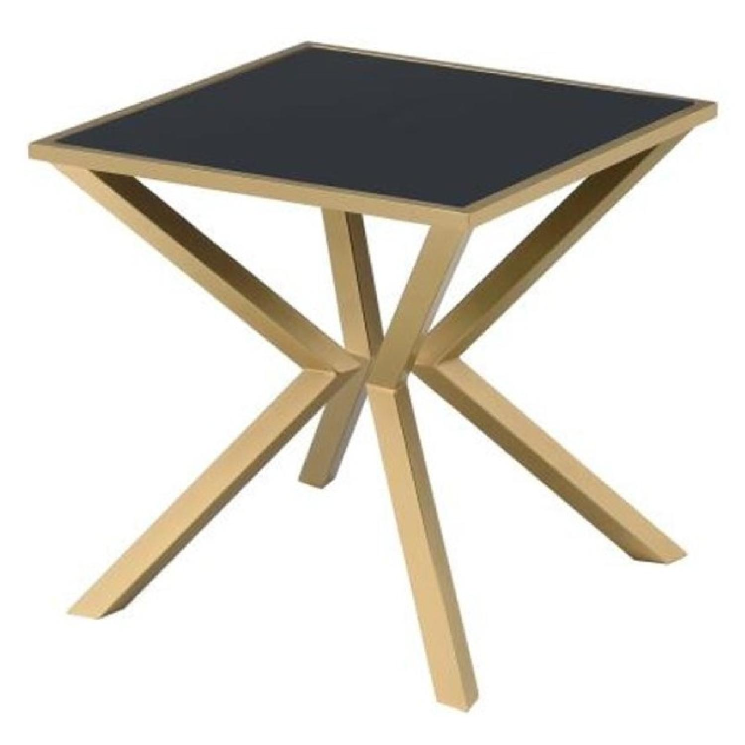 Coffee Table Angled Legs: Side Table W/ Brass Angled Legs & Black Glass Top