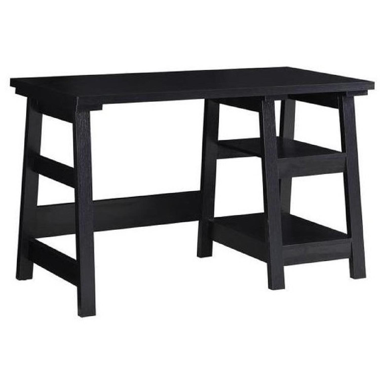 Simple Writing Desk W Tier Shelves In Black Finish Aptdeco