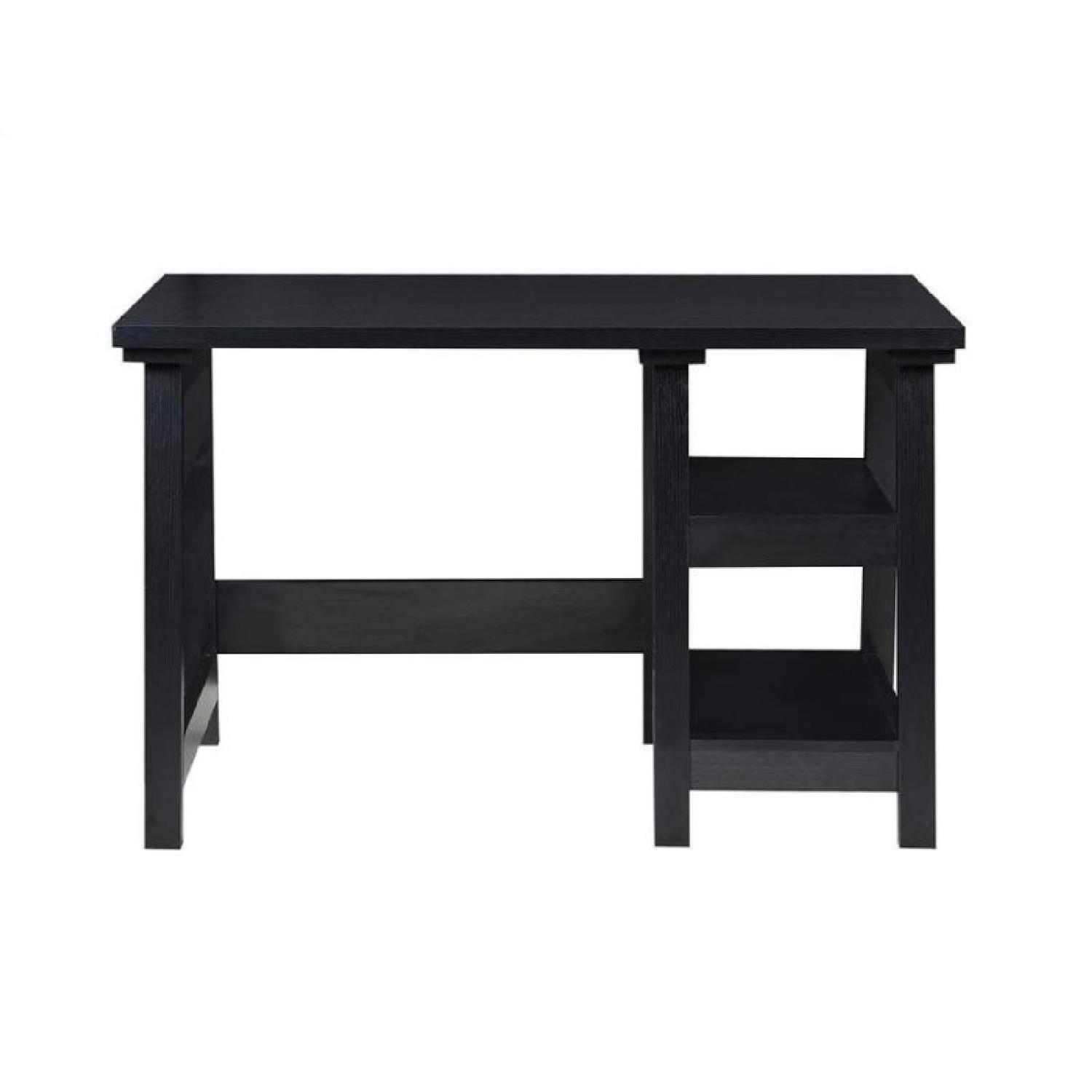 Simple Writing Desk W Tier Shelves In Black Finish Aptdeco