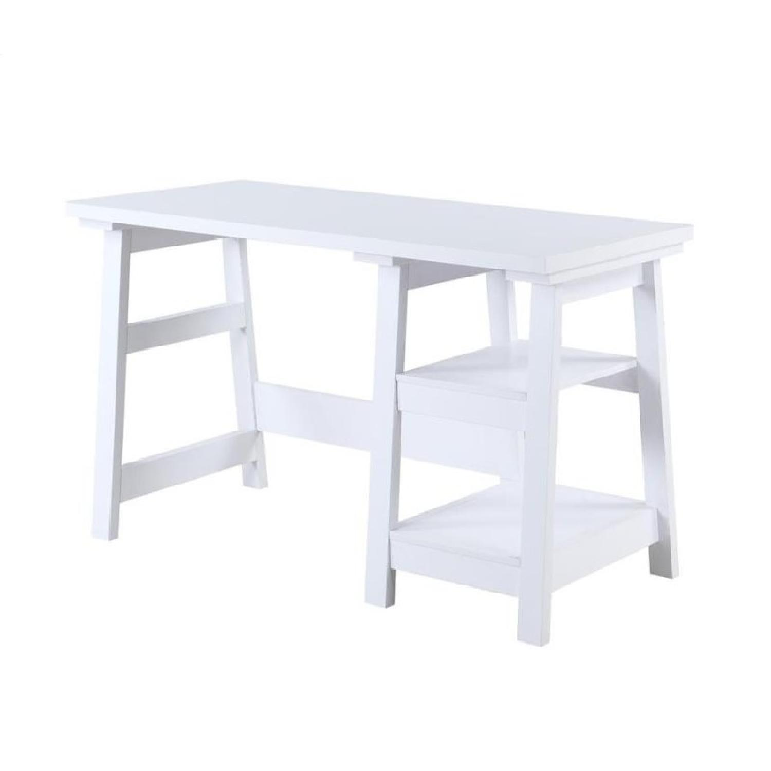 Simple Writing Desk W Tier Shelves In White Finish Aptdeco