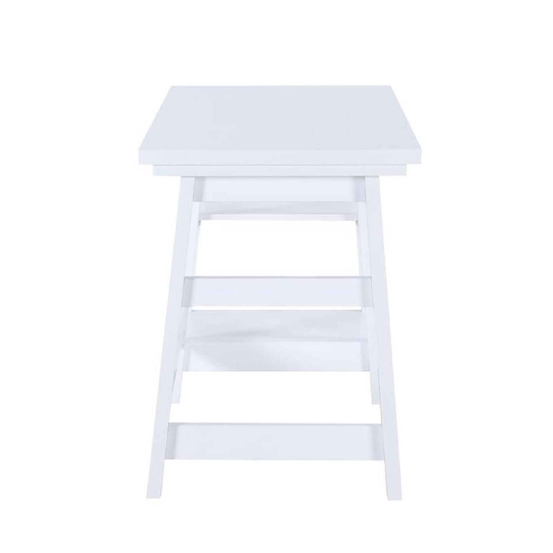 Simple Writing Desk W Tier Shelves In White Finish Aptdeco