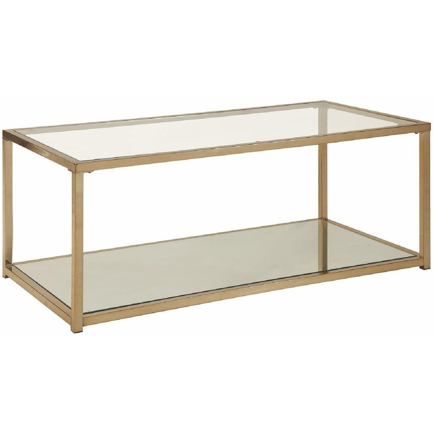 Glass Top Modern Coffee Table W/ Chrome Frame & Mirror