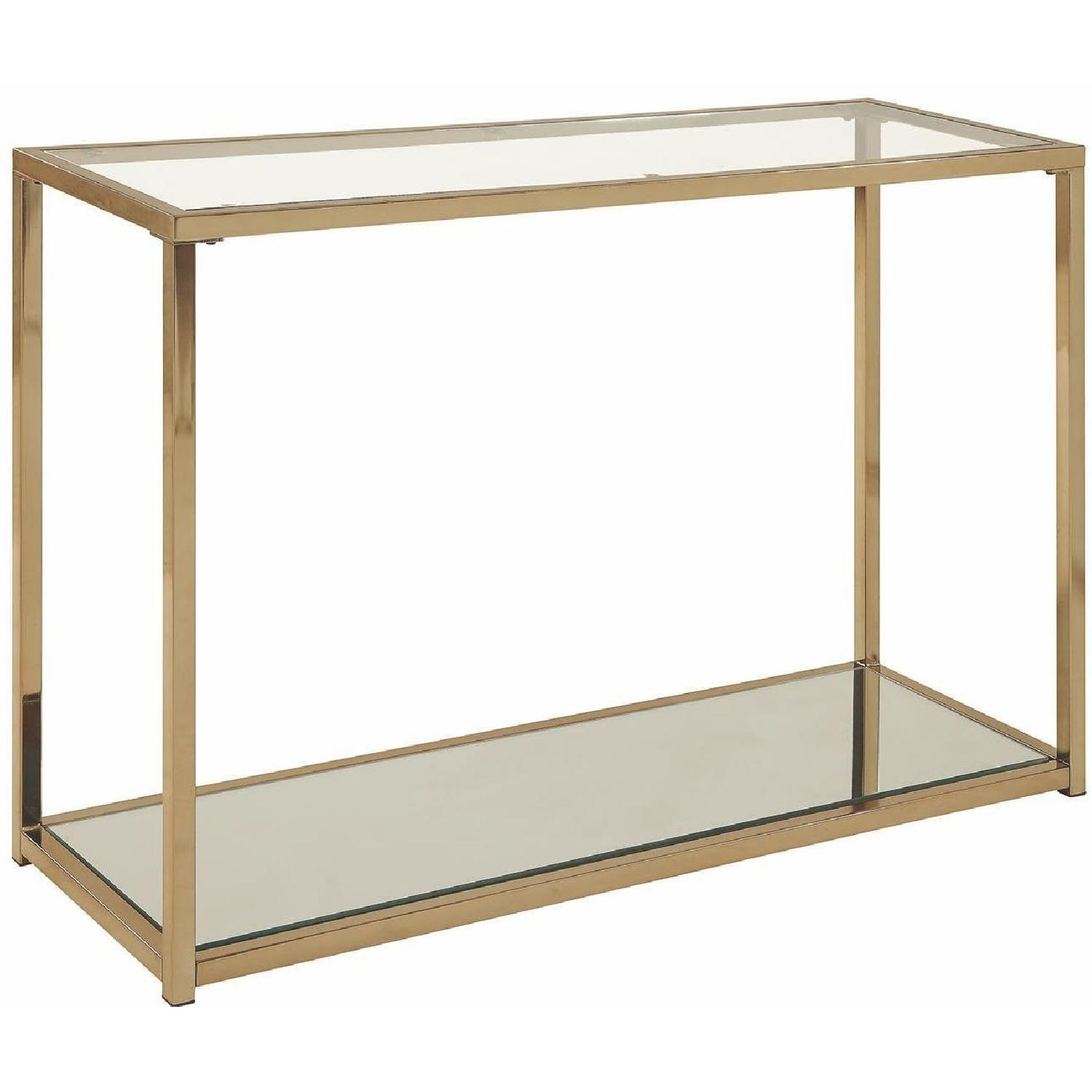Modern Sofa Table w/ Chrome Frame,Glass Top & Mirror Shelf
