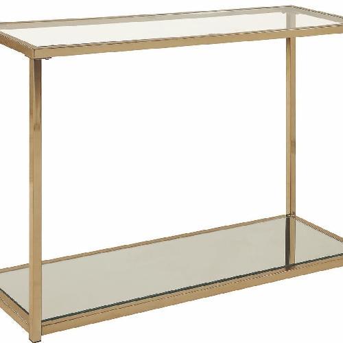 Used Modern Sofa Table w/ Chrome Frame,Glass Top & Mirror Shelf for sale on AptDeco