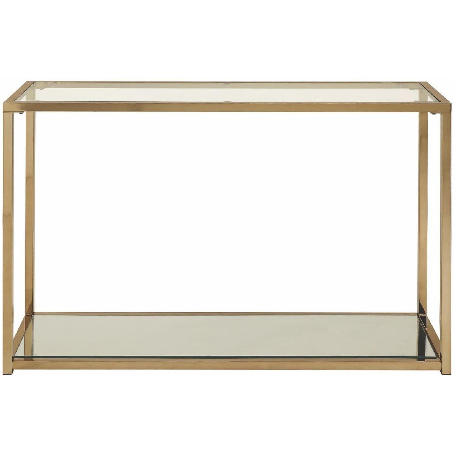 Modern Sofa Table w/ Chrome Frame,Glass Top & Mirror Shelf-0