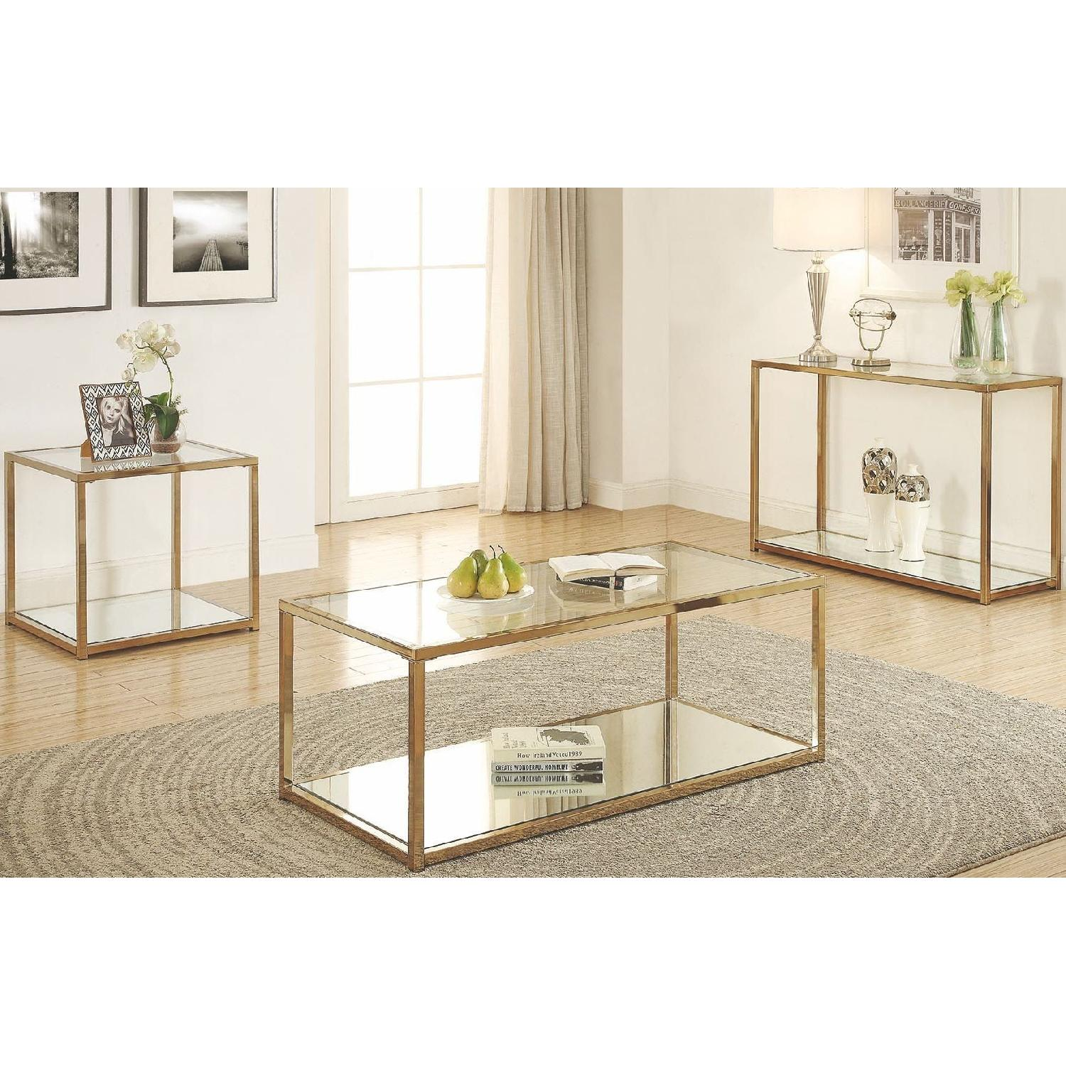 Modern Sofa Table w/ Chrome Frame,Glass Top & Mirror Shelf-2