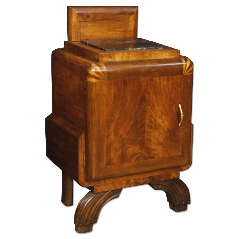 Italian Bedside Table In Walnut W Marble Top Aptdeco