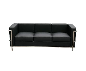 Cour Black Italian Leather Sofa