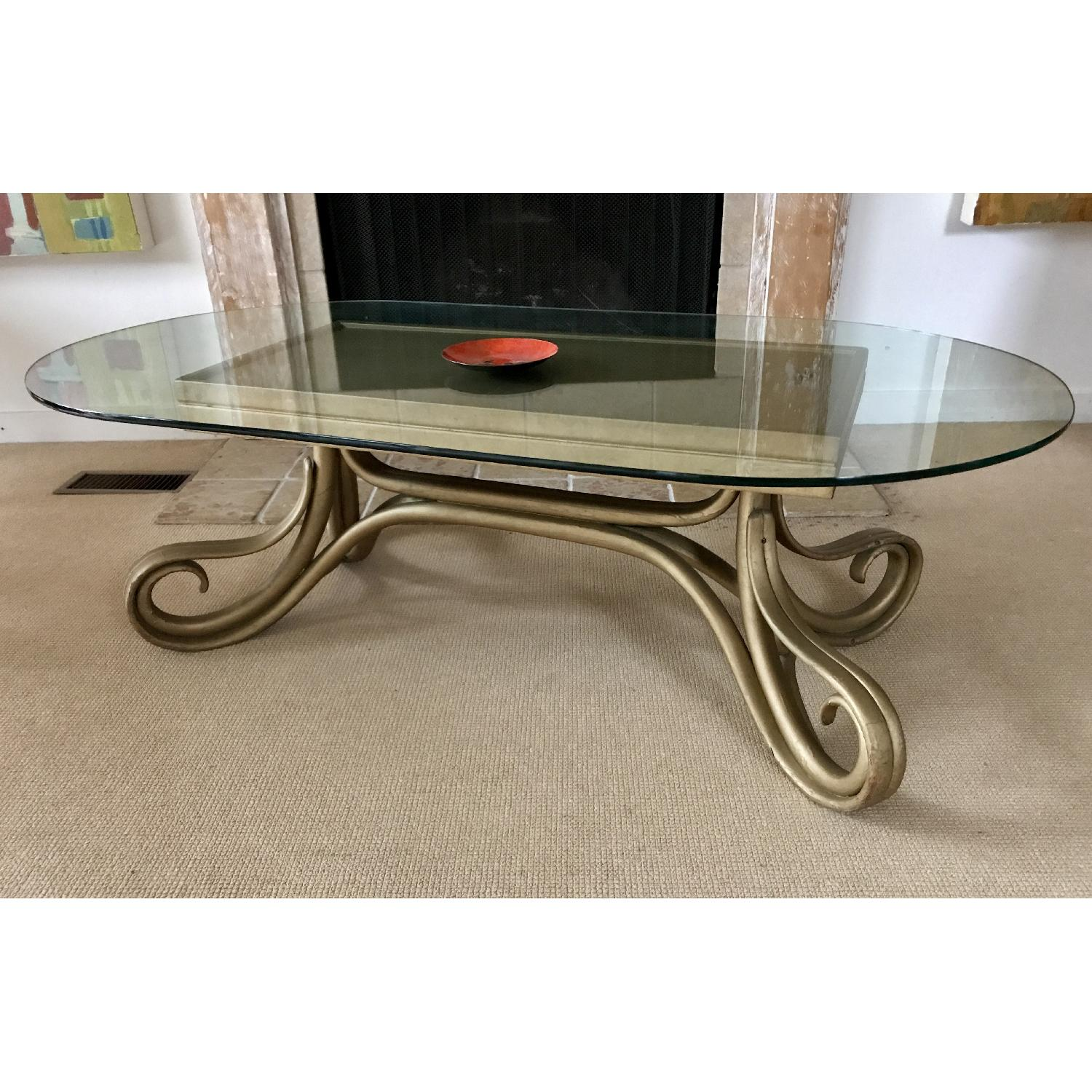 Vintage Thonet Bentwood Glass Top Coffee Table - image-1