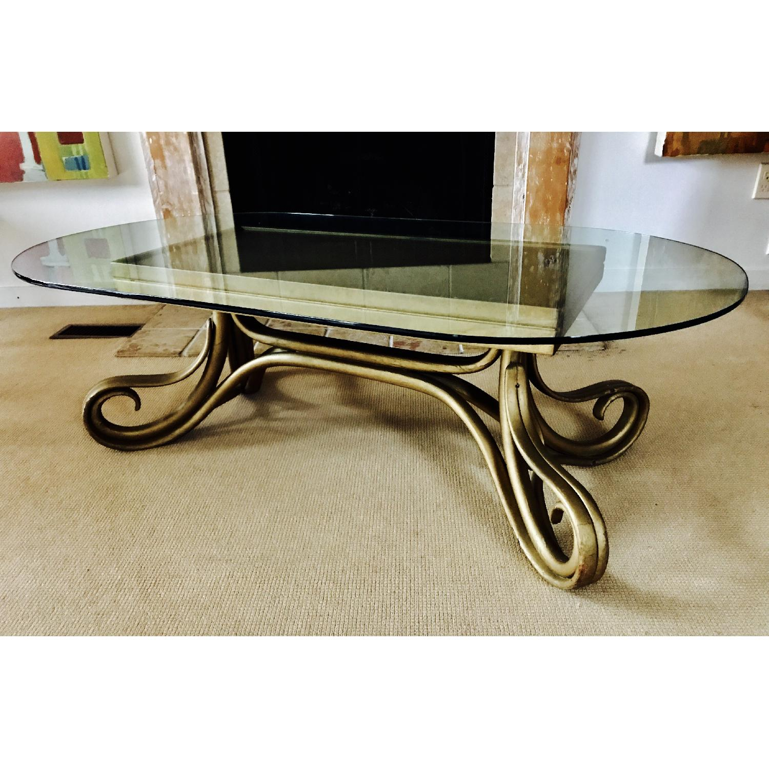 Vintage Thonet Bentwood Glass Top Coffee Table - image-2