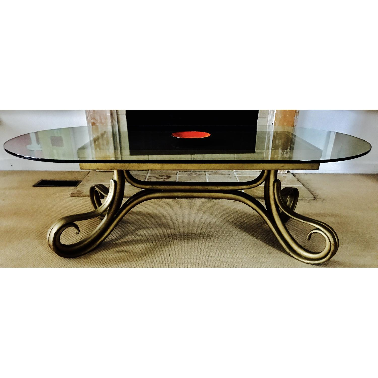 Vintage Thonet Bentwood Glass Top Coffee Table