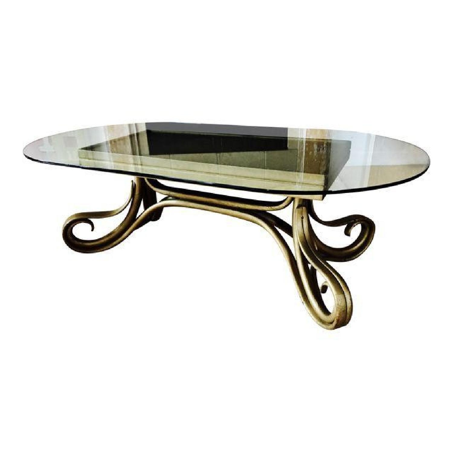 Vintage Thonet Bentwood Glass Top Coffee Table - image-0