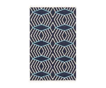 West Elm Diamond Stripe Wool Dhurrie Rug