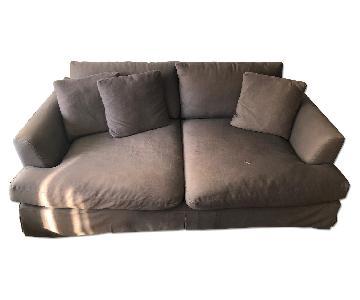 ABC Carpet and Home Grey Slipcover Deep Sofa