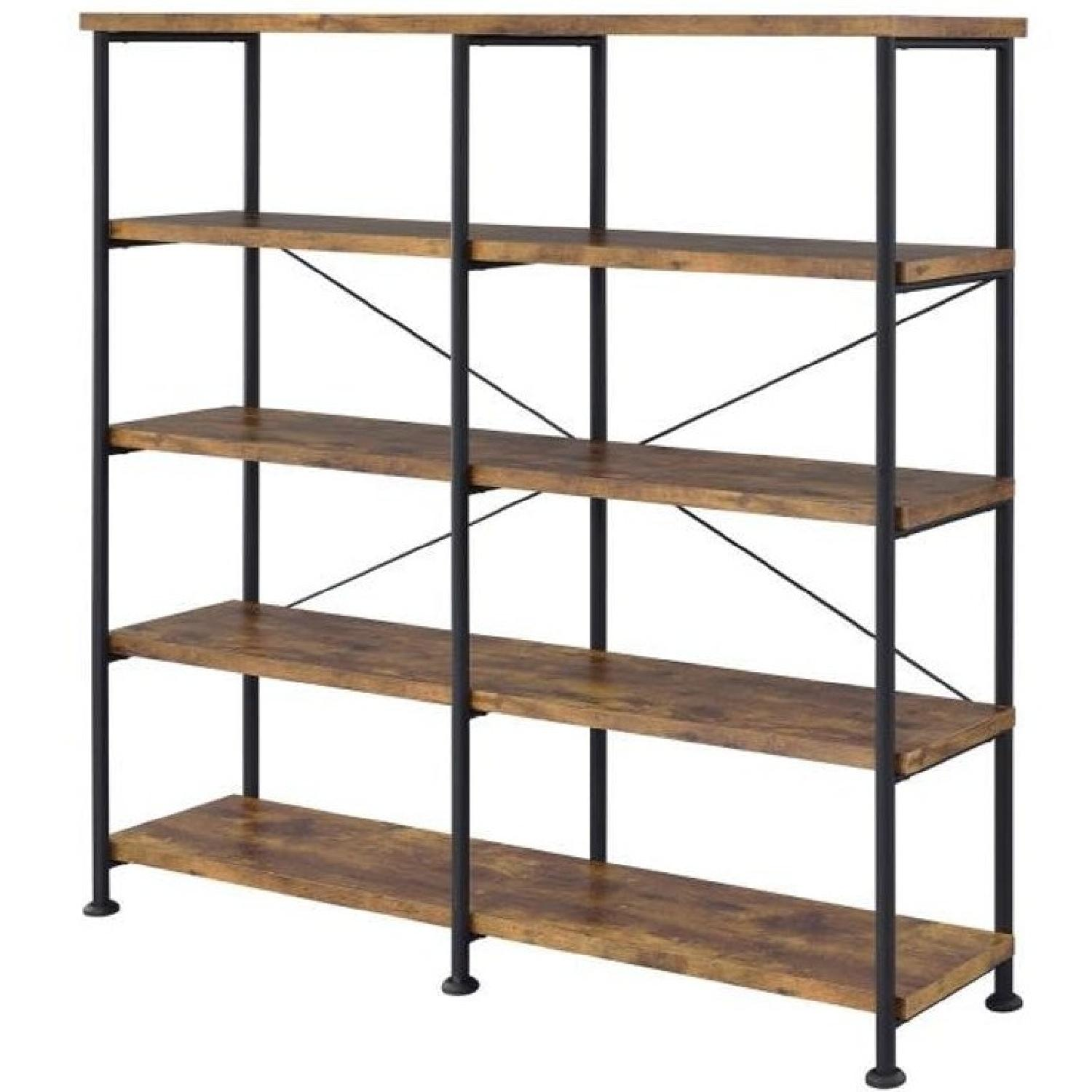 Industrial Style Double Bookcase w/ Antique Nutmeg Shelves