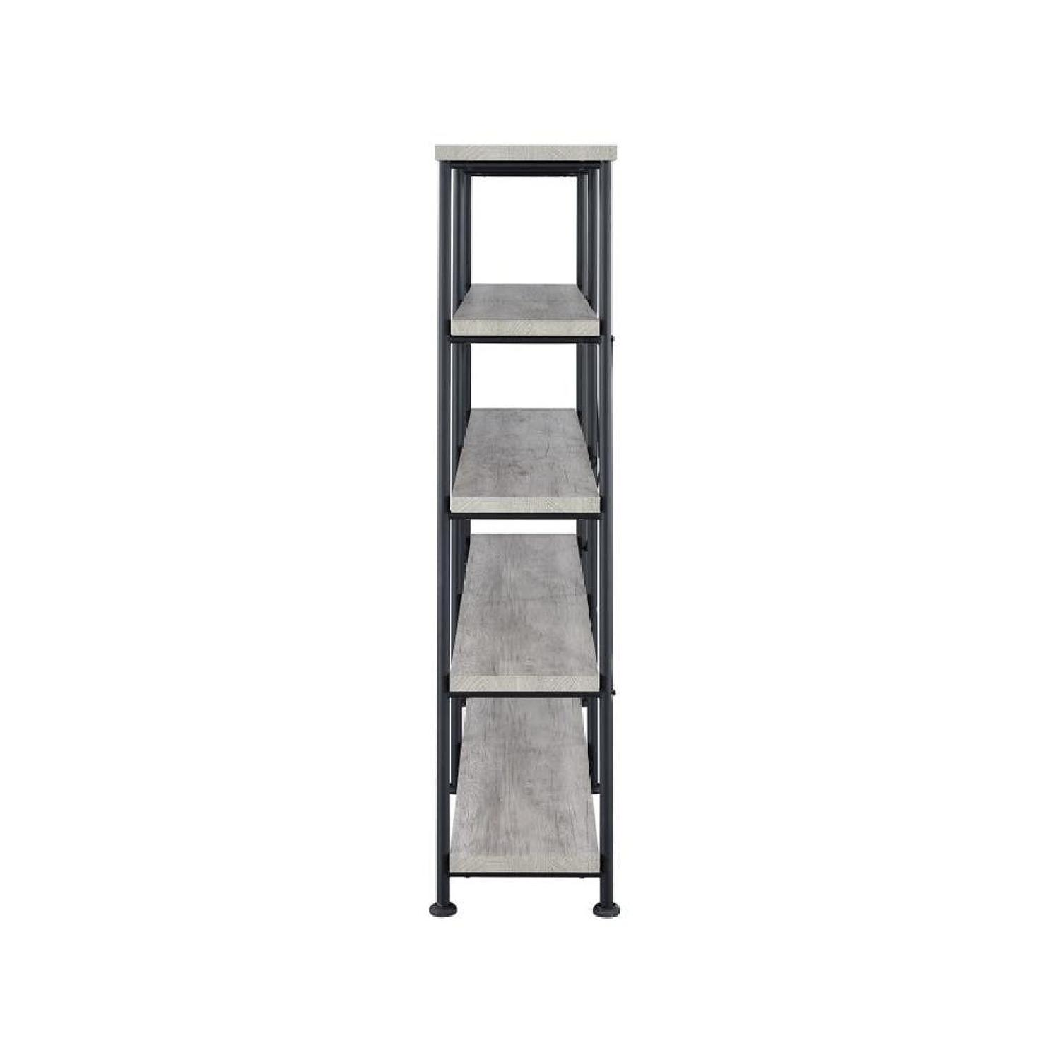 Industrial Style Double Bookcase w/ Weathered Grey Shelves - image-1