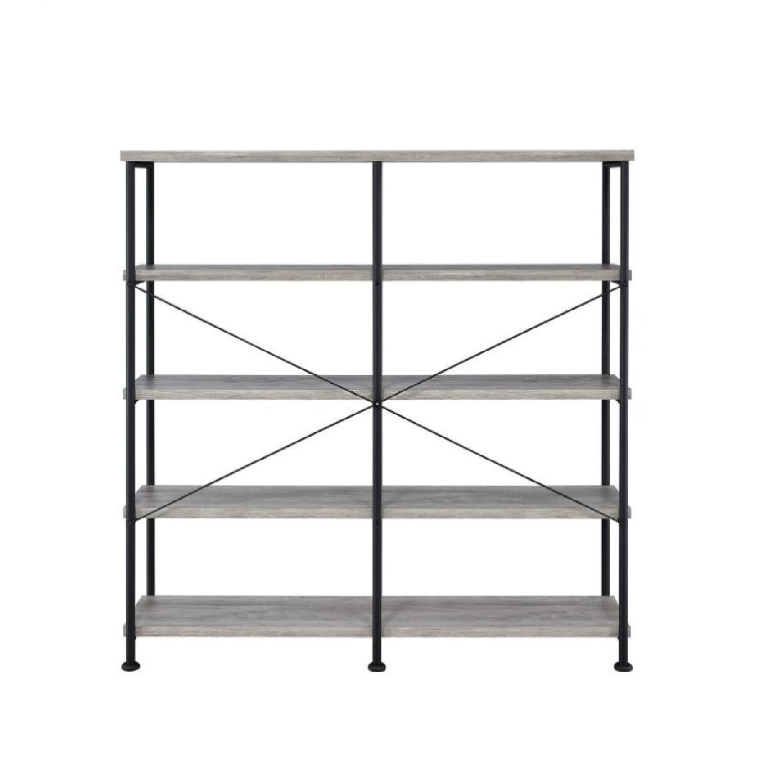 Industrial Style Double Bookcase w/ Weathered Grey Shelves - image-2