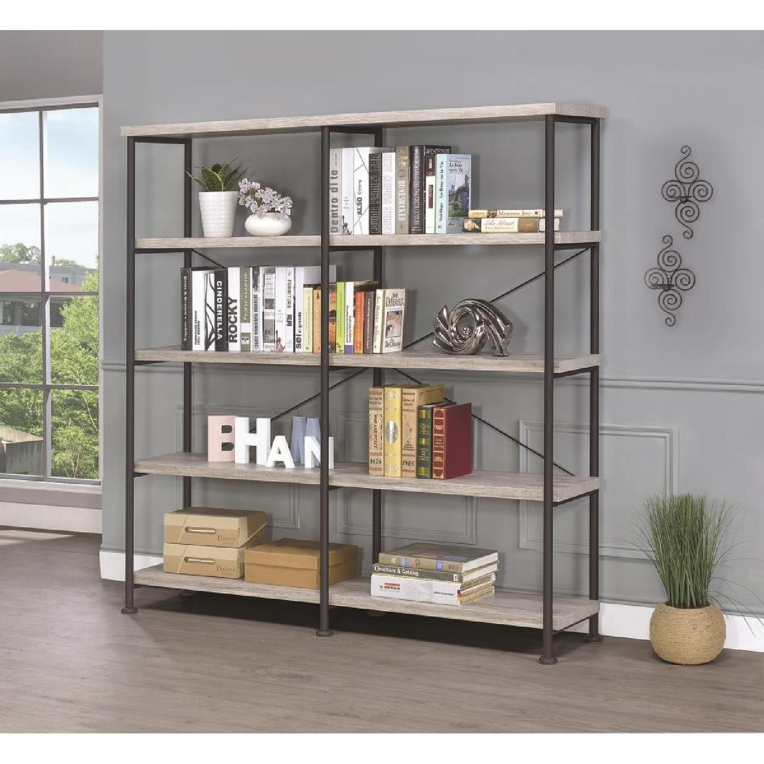 Industrial Style Double Bookcase w/ Weathered Grey Shelves - image-3