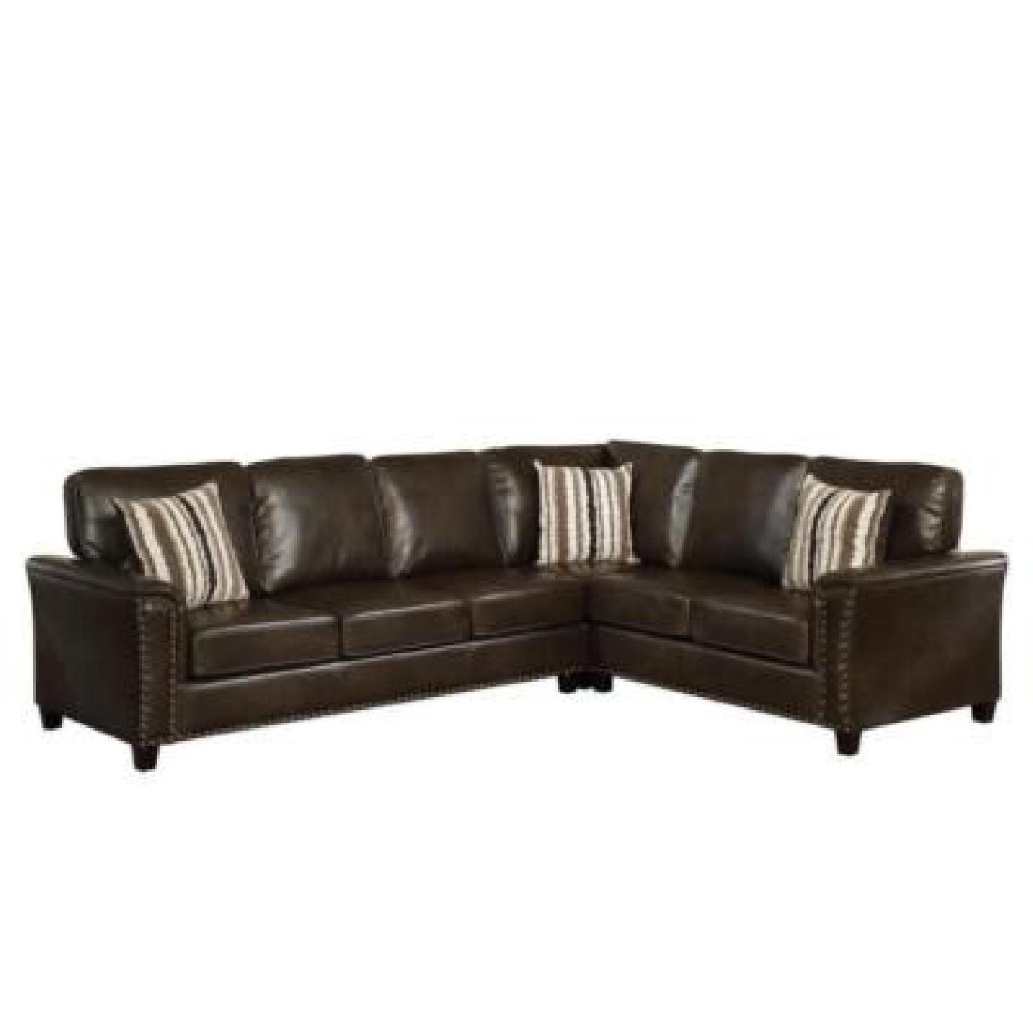 Faux Leather Sectional Sofa W Pull Out Leeper