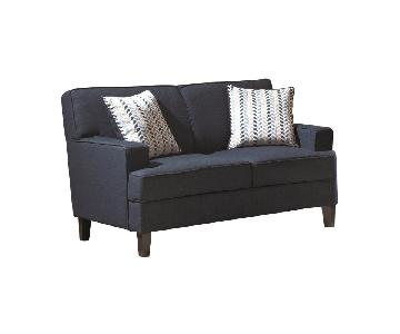 Coaster Contemporary Loveseat in Ink Blue Linen Fabric