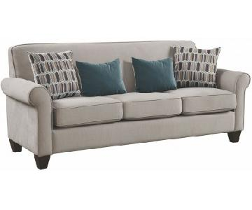 Mid-Century Fabric Sofa in Cement