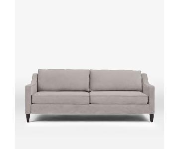 West Elm Paidge Sofa in Dove Grey Performance Velvet