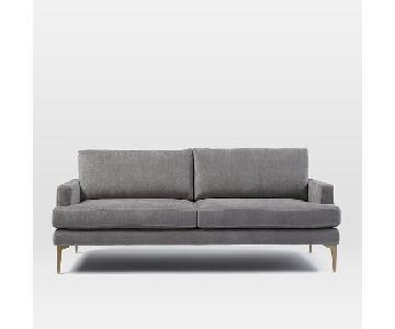 West Elm Andes Sofa in Blackened Brass Worn Velvet