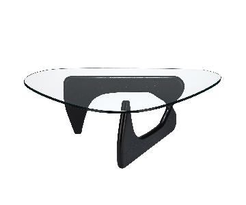 Poly and Bark Sculpture Modern Glass Coffee Table