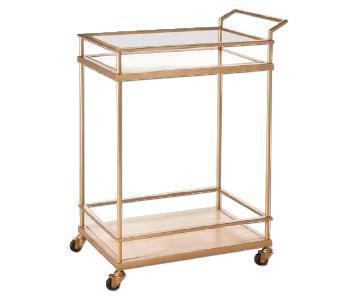 Target Wood & Glass Gold Finish Bar Cart