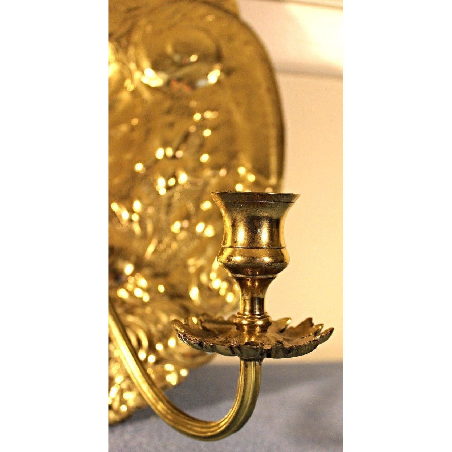 Mottahedeh Double Baroque Repousse Brass Wall Sconce - AptDeco