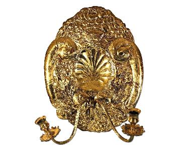 Mottahedeh Double Baroque Repousse Brass Wall Sconce