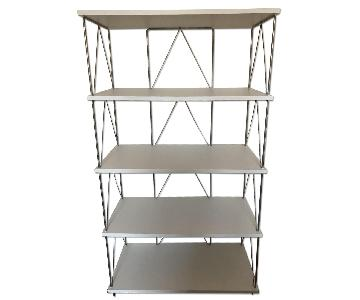 Modern White Melamine & Steel Shelving Unit
