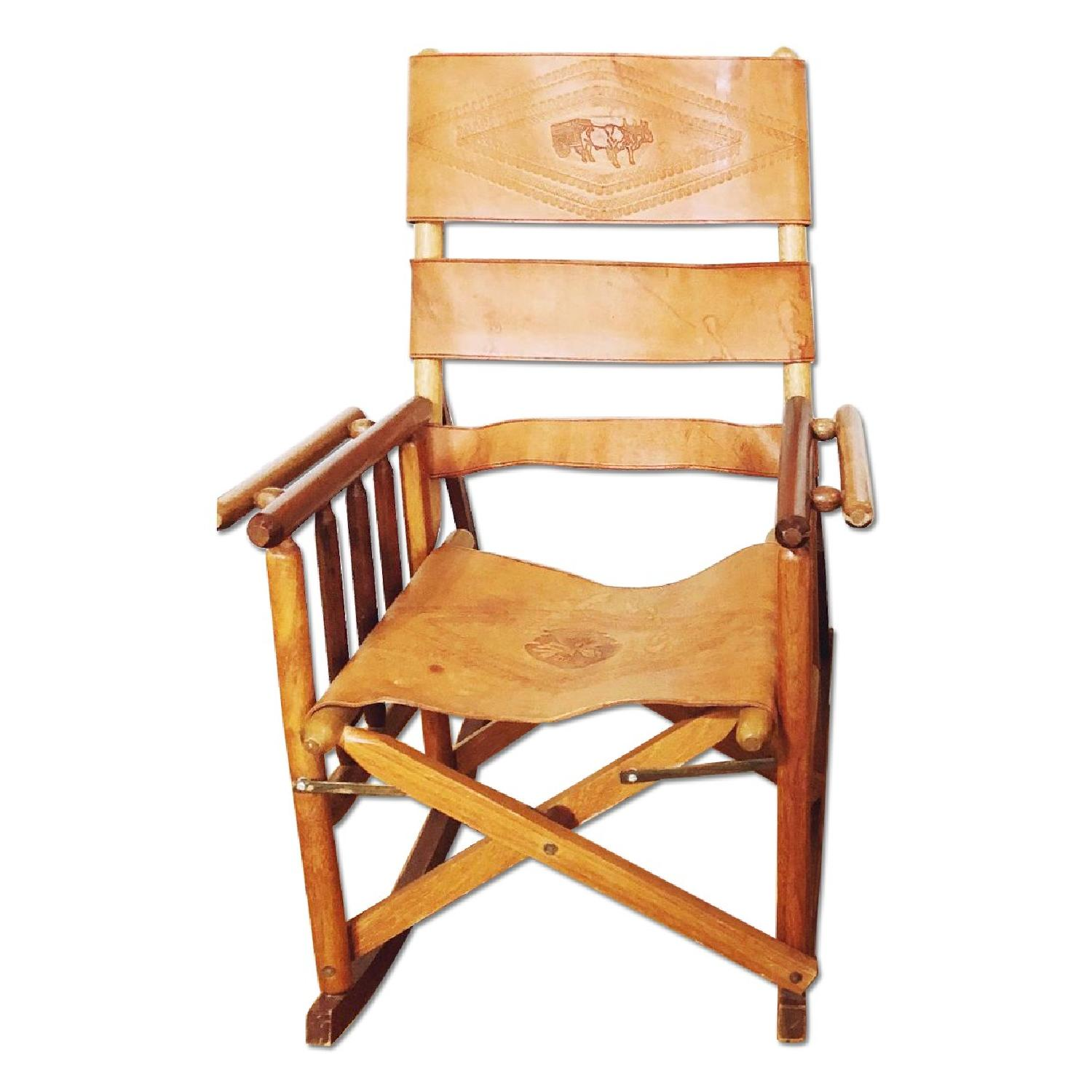 Leather wood costa rican folding rocking chair aptdeco