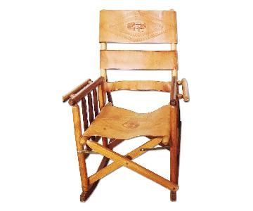 Leather & Wood Costa Rican Folding Rocking Chair