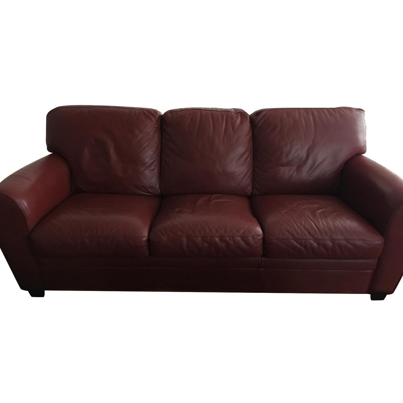 Natuzzi Leather Burgundy Sofa ...