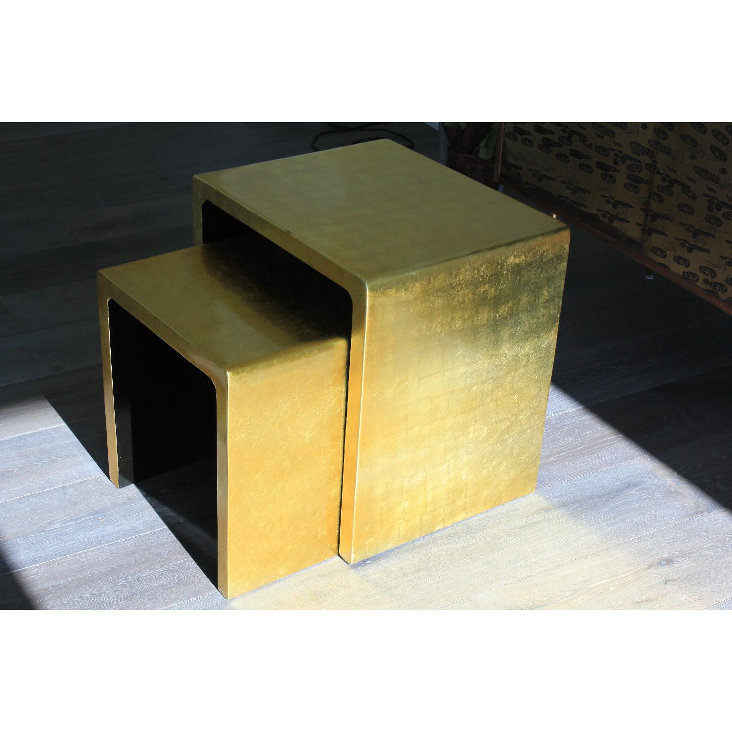 Gold Lacquered Side Tables - Pair - image-1