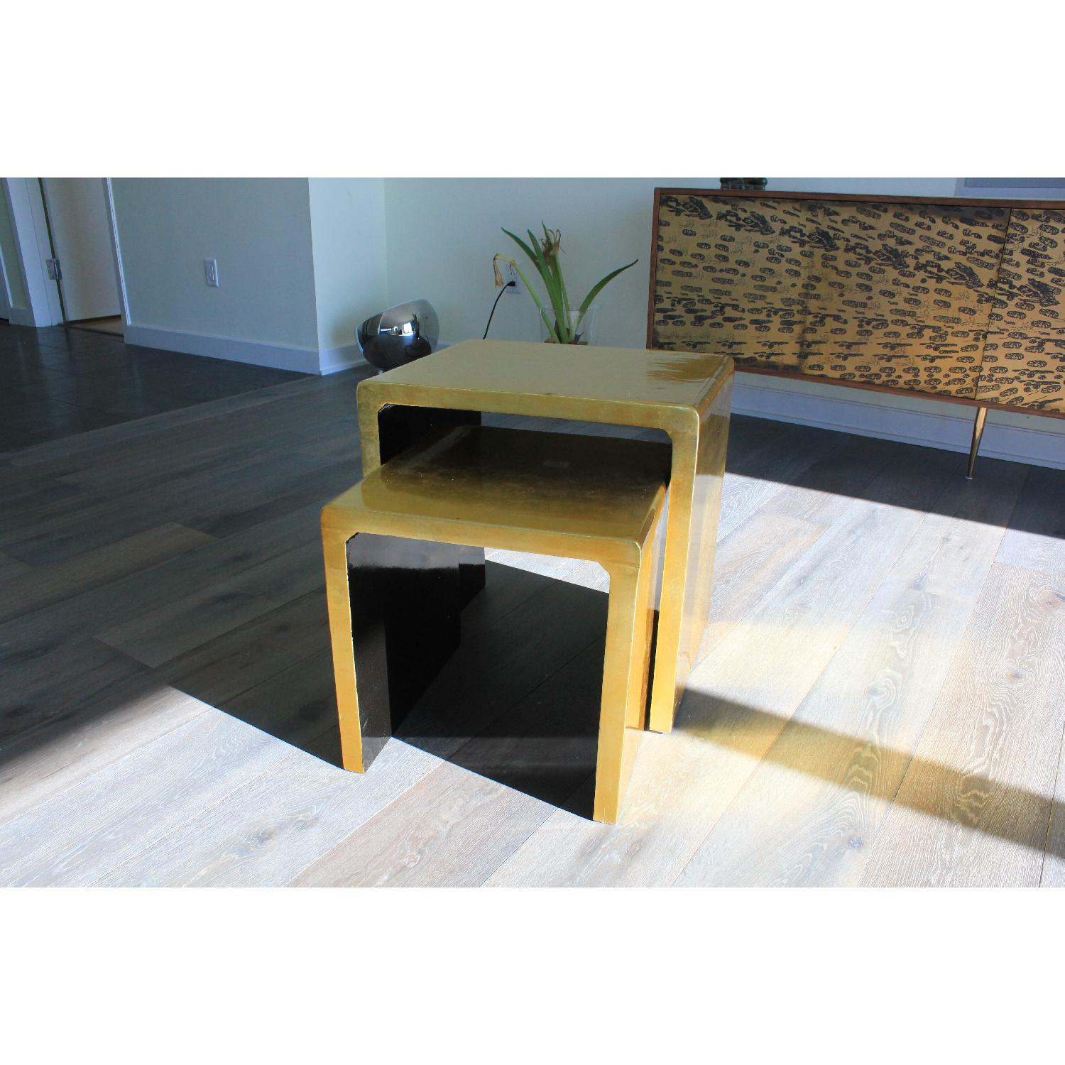 Gold Lacquered Side Tables - Pair - image-2