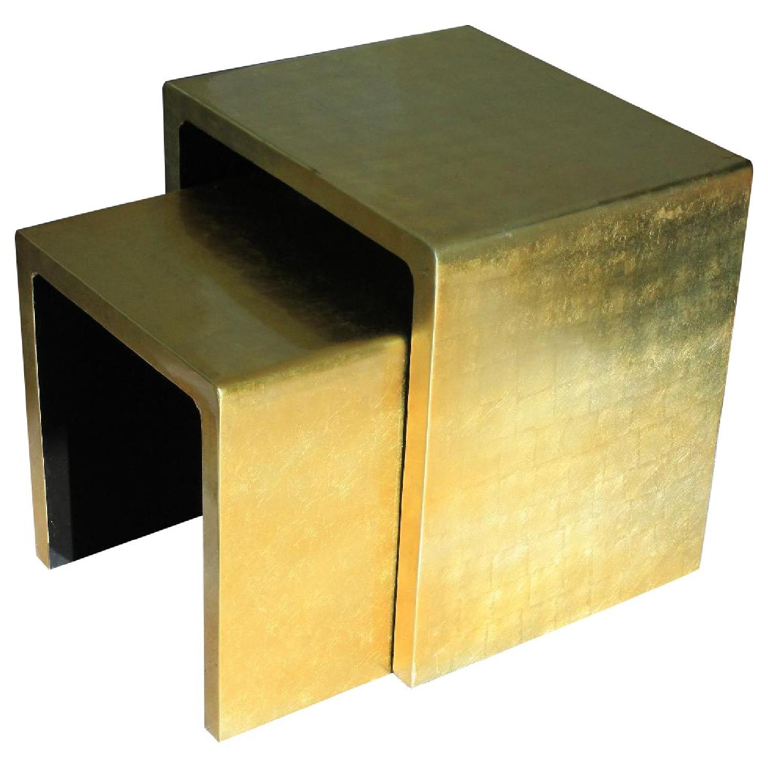 Gold Lacquered Side Tables - Pair - image-0