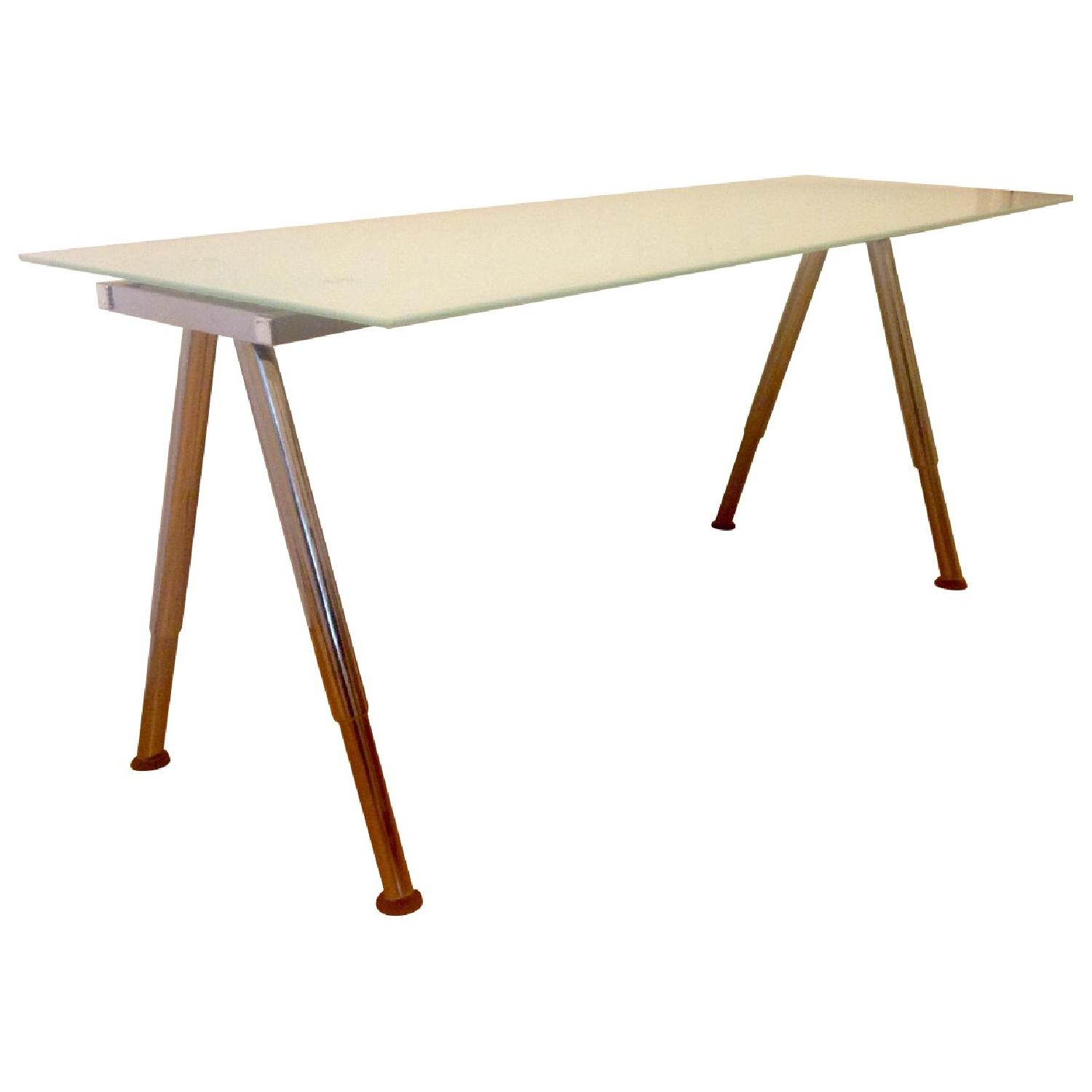 Ikea Galant Frosted Glass Adjustable Height Desk Table Aptdeco