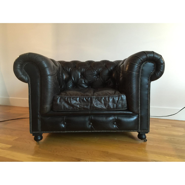 Restoration Hardware Kensington Leather Chair - image-1