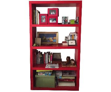 Ikea Red Lacquer Parson Style Bookcase