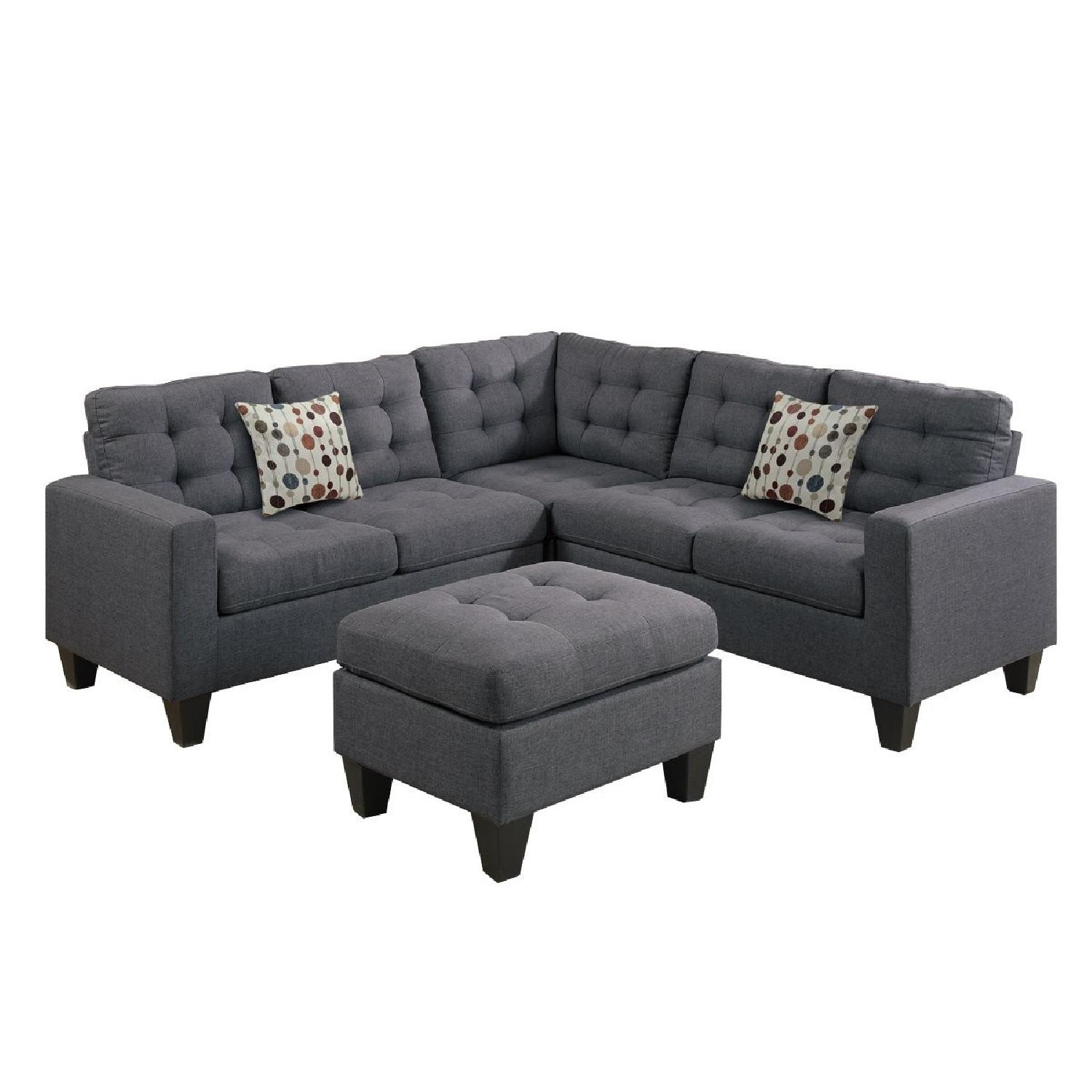 Blue Grey Fabric 4-Piece Sectional Sofa & Ottoman