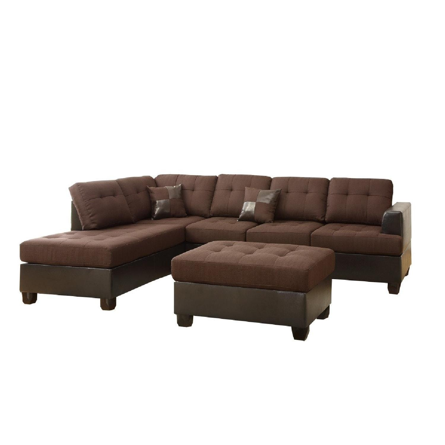 3 Piece Reversible Chaise Sectional Sofa In Brown