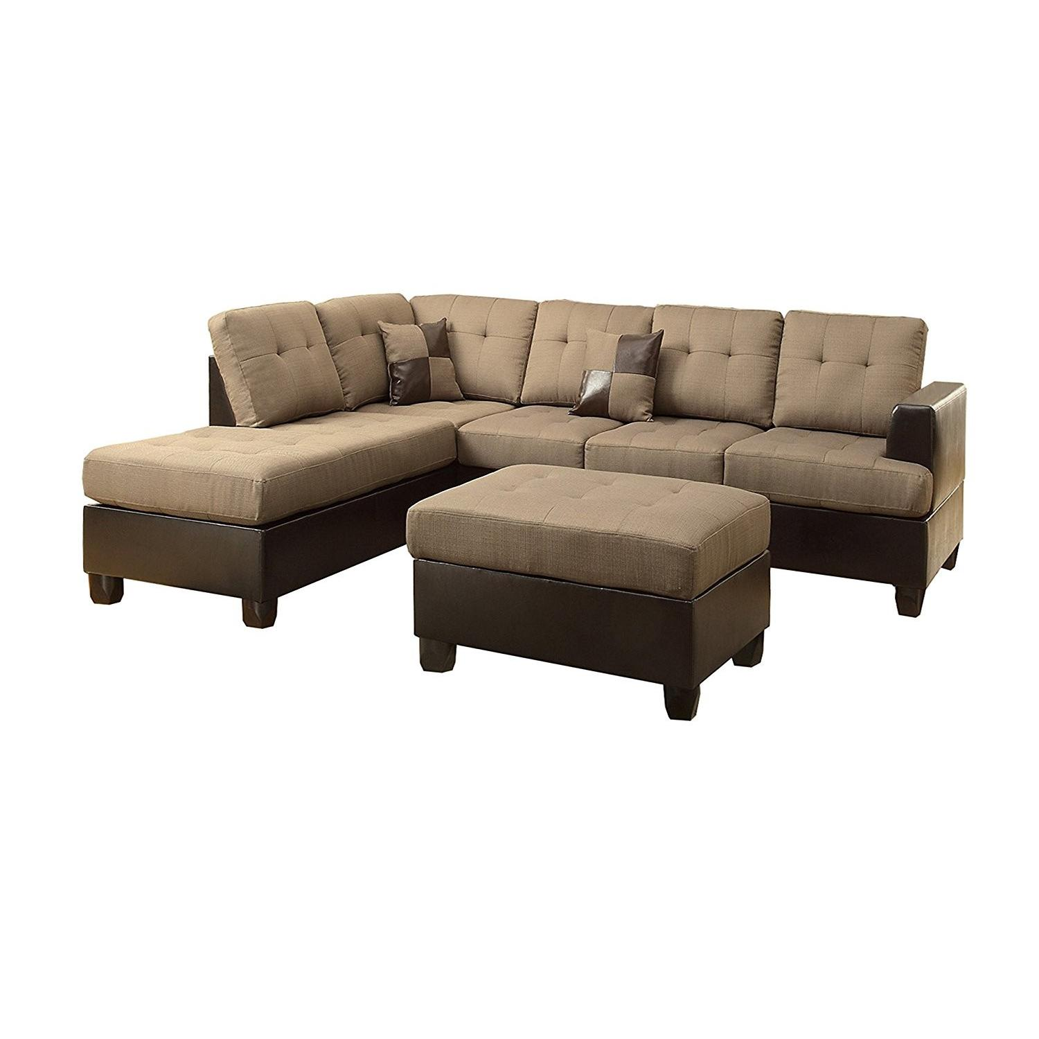 3 Piece Reversible Chaise Sectional Sofa Set In Tan Fabric ...