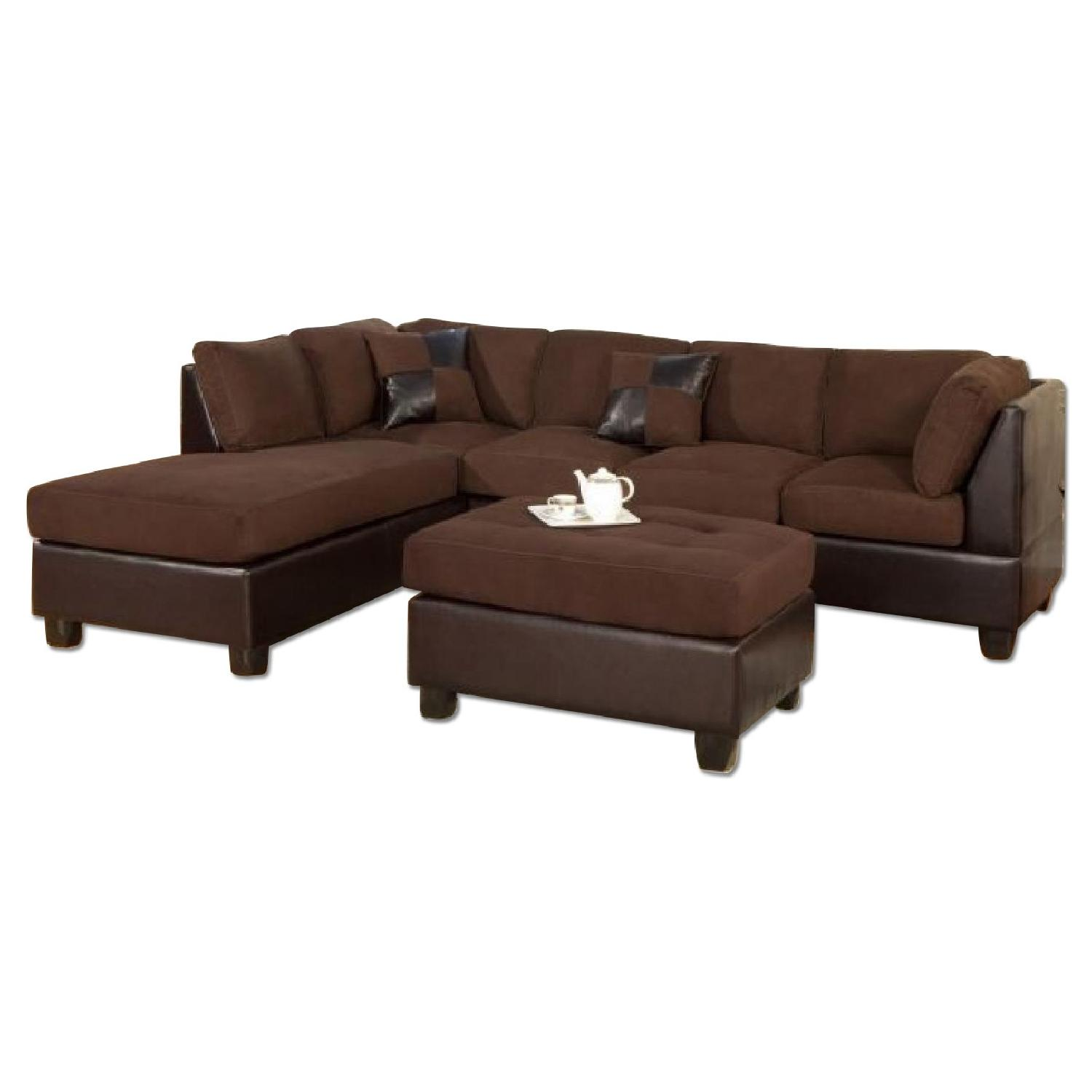 Chocolate Microfiber 3-Piece Reversible Chaise Sectional