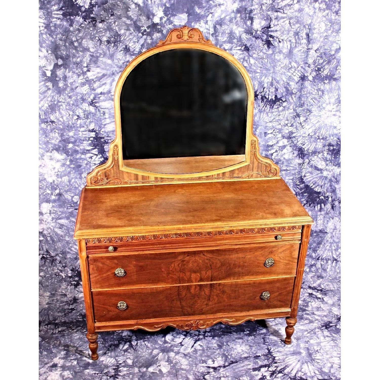 Antique Art Deco Veneered Dresser W Mirror Aptdeco